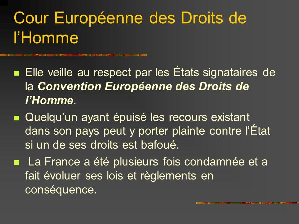 Cour Européenne des Droits de lHomme Elle veille au respect par les États signataires de la Convention Européenne des Droits de lHomme. Quelquun ayant