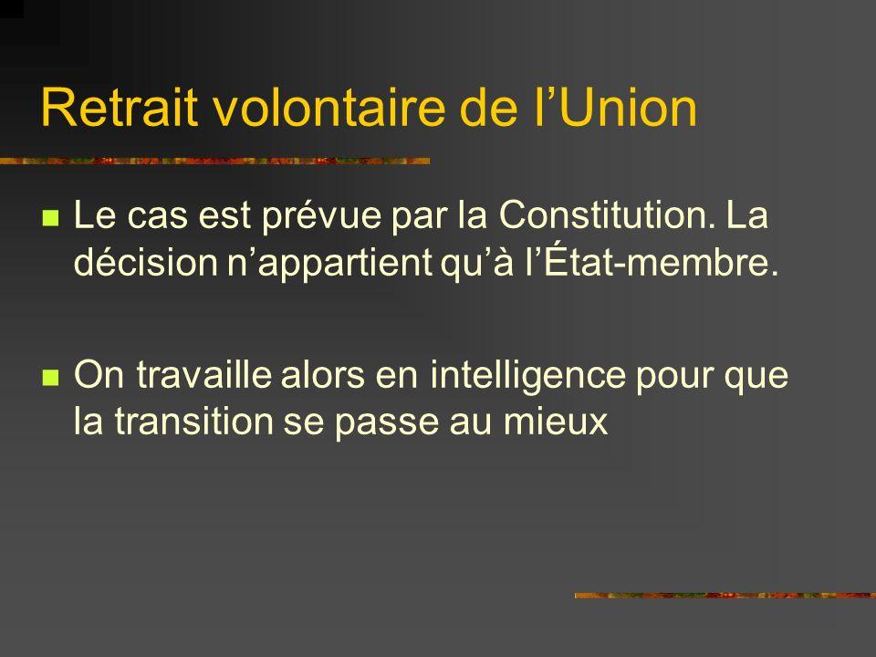 Retrait volontaire de lUnion Le cas est prévue par la Constitution. La décision nappartient quà lÉtat-membre. On travaille alors en intelligence pour