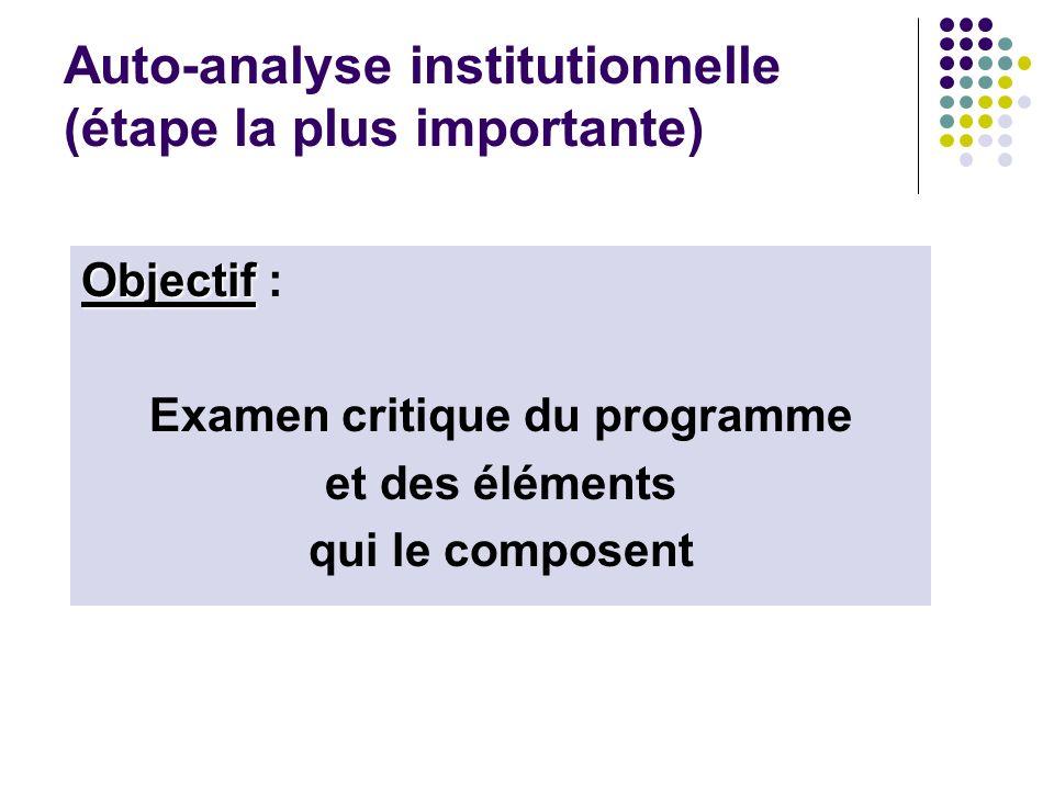 Auto-analyse institutionnelle (étape la plus importante) Objectif Objectif : Examen critique du programme et des éléments qui le composent