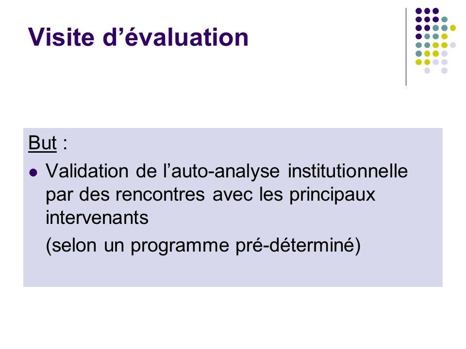 Visite dévaluation But : Validation de lauto-analyse institutionnelle par des rencontres avec les principaux intervenants (selon un programme pré-déte