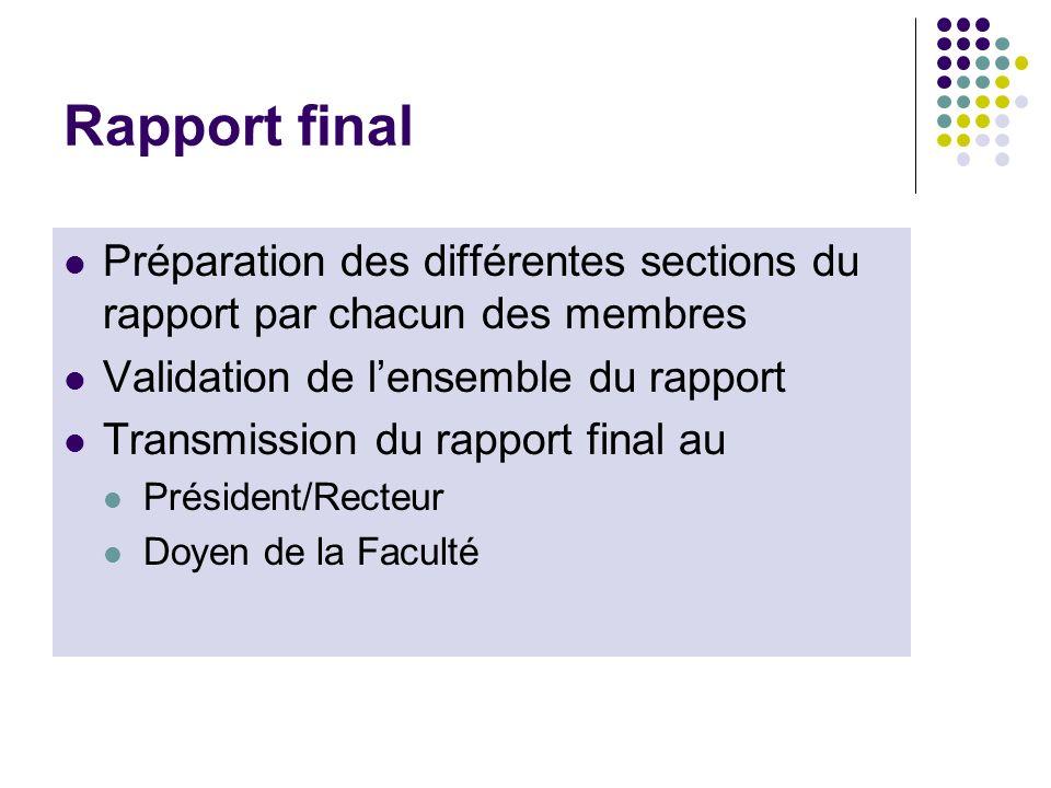 Rapport final Préparation des différentes sections du rapport par chacun des membres Validation de lensemble du rapport Transmission du rapport final