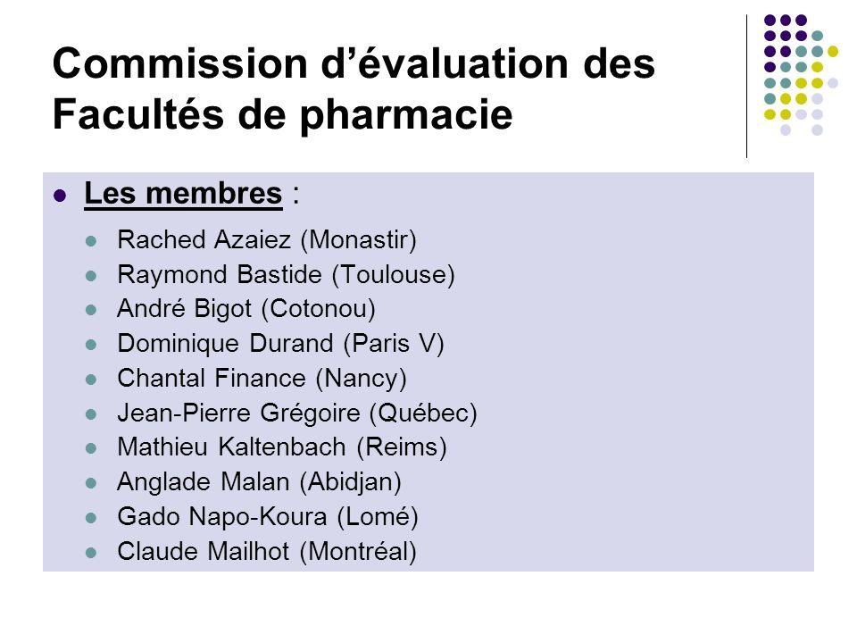 Commission dévaluation des Facultés de pharmacie Les membres : Rached Azaiez (Monastir) Raymond Bastide (Toulouse) André Bigot (Cotonou) Dominique Dur