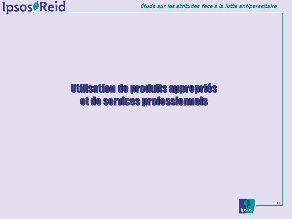 Étude sur les attitudes face à la lutte antiparasitaire 11 Utilisation de produits appropriés et de services professionnels