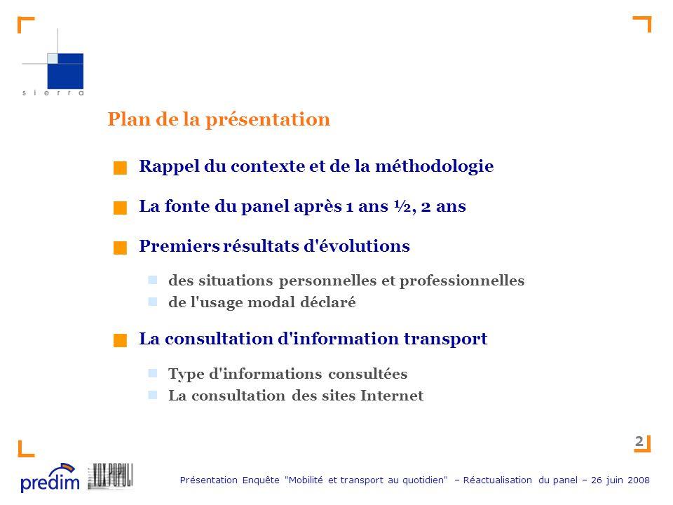 Présentation Enquête Mobilité et transport au quotidien – Réactualisation du panel – 26 juin 2008 13 Premiers résultats d évolution