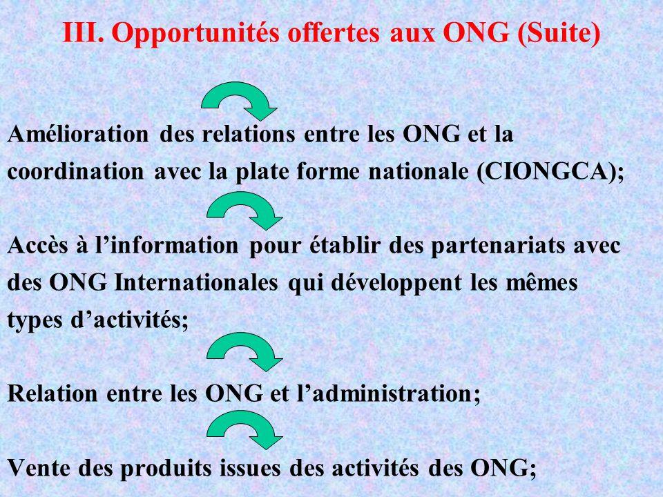 III. Opportunités offertes aux ONG (Suite) Amélioration des relations entre les ONG et la coordination avec la plate forme nationale (CIONGCA); Accès