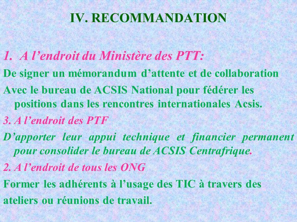 IV. RECOMMANDATION 1.A lendroit du Ministère des PTT: De signer un mémorandum dattente et de collaboration Avec le bureau de ACSIS National pour fédér