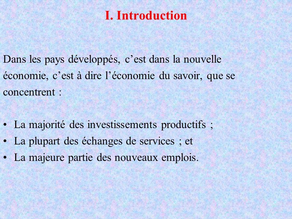 I. Introduction Dans les pays développés, cest dans la nouvelle économie, cest à dire léconomie du savoir, que se concentrent : La majorité des invest