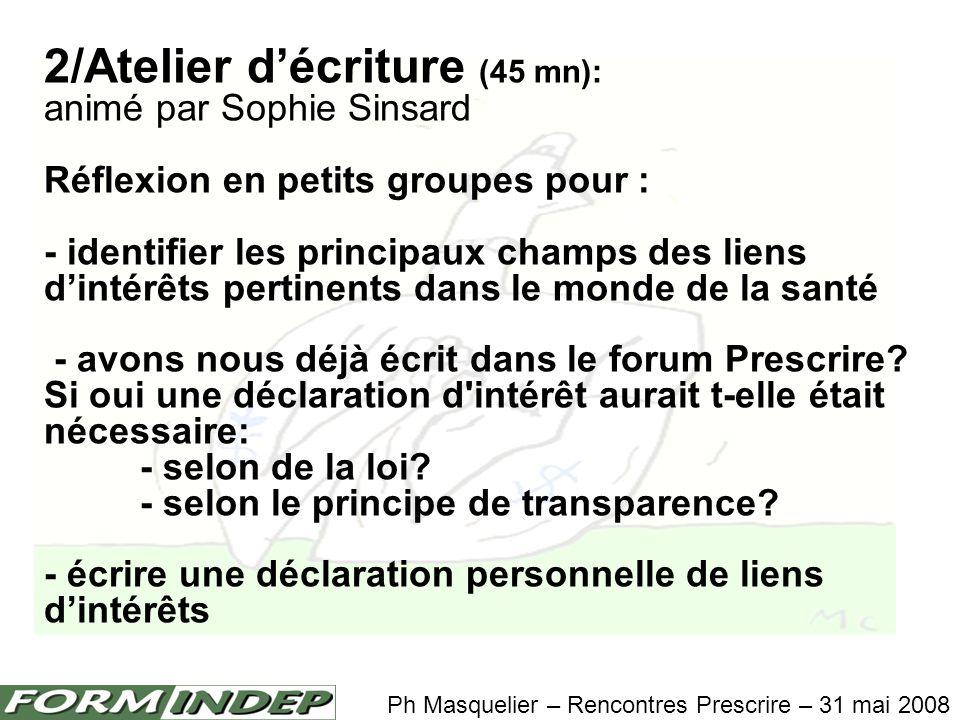 3/Plénière et mise en commun (20 mn) Ph Masquelier – Rencontres Prescrire – 31 mai 2008