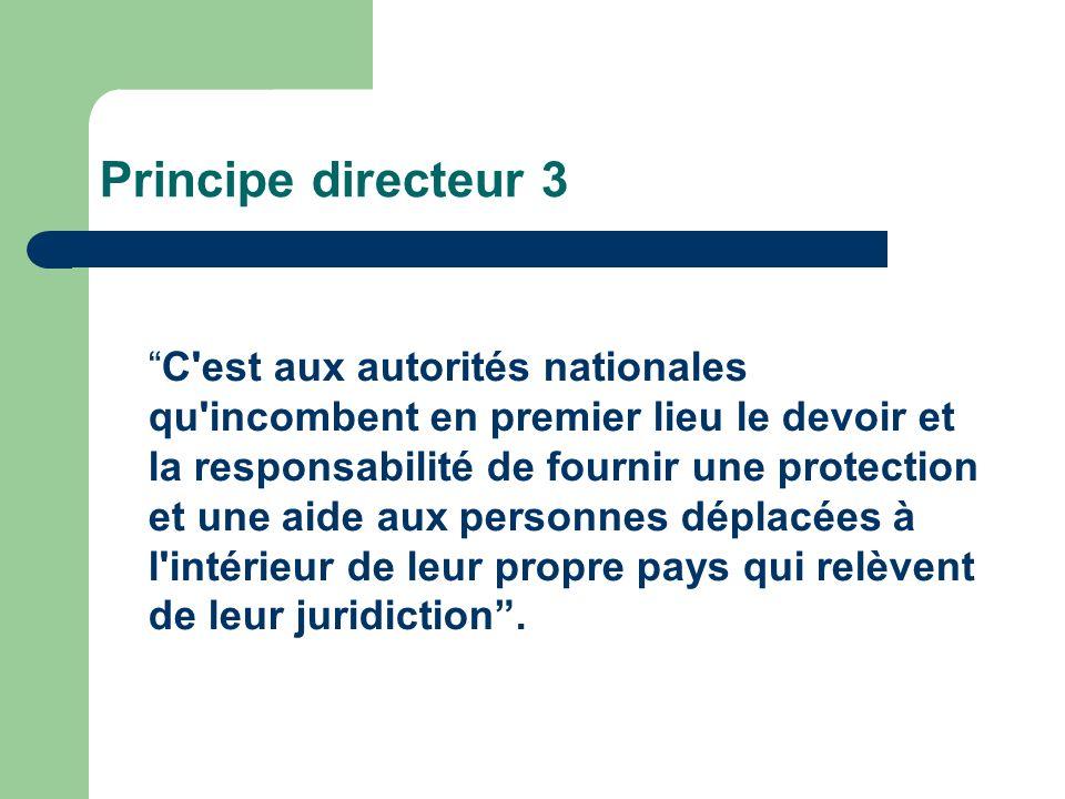 Principe directeur 3 C est aux autorités nationales qu incombent en premier lieu le devoir et la responsabilité de fournir une protection et une aide aux personnes déplacées à l intérieur de leur propre pays qui relèvent de leur juridiction.