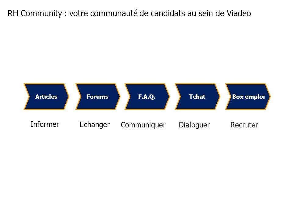 Forums Box emploiArticlesTchatF.A.Q. Informer Communiquer Echanger DialoguerRecruter RH Community : votre communauté de candidats au sein de Viadeo
