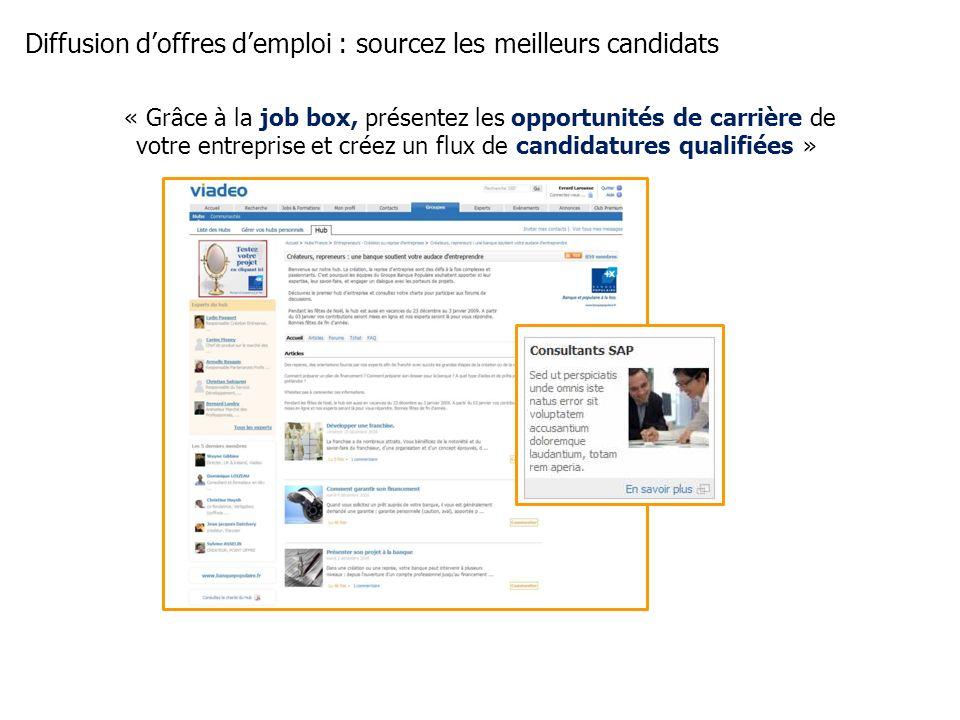 Diffusion doffres demploi : sourcez les meilleurs candidats « Grâce à la job box, présentez les opportunités de carrière de votre entreprise et créez