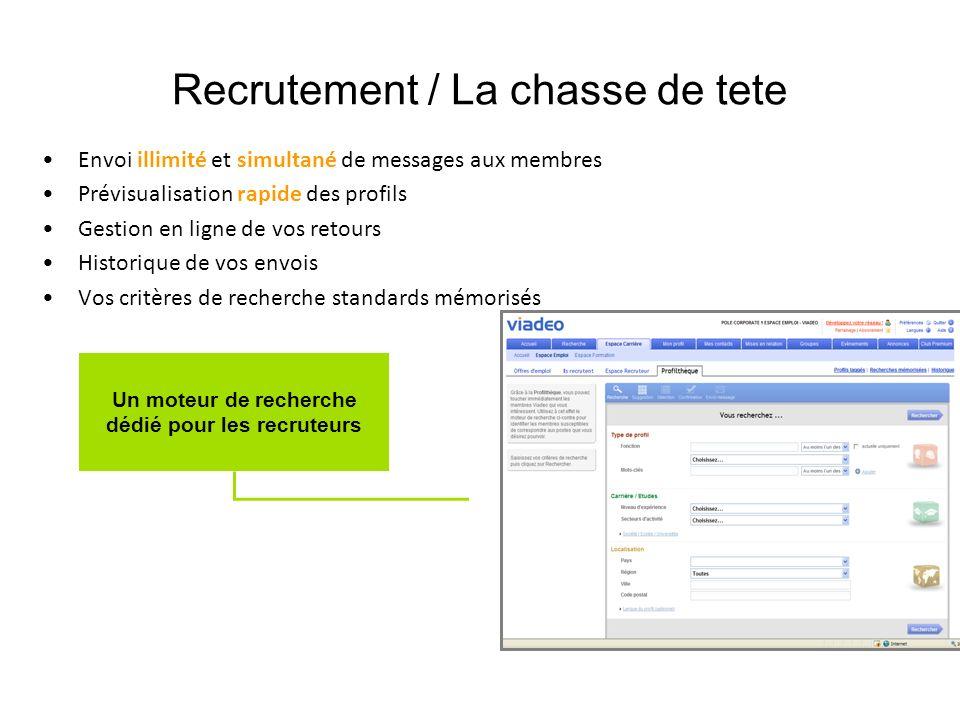 Recrutement / La chasse de tete Envoi illimité et simultané de messages aux membres Prévisualisation rapide des profils Gestion en ligne de vos retour