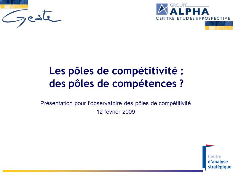Les pôles de compétitivité : des pôles de compétences ? Présentation pour lobservatoire des pôles de compétitivité 12 février 2009