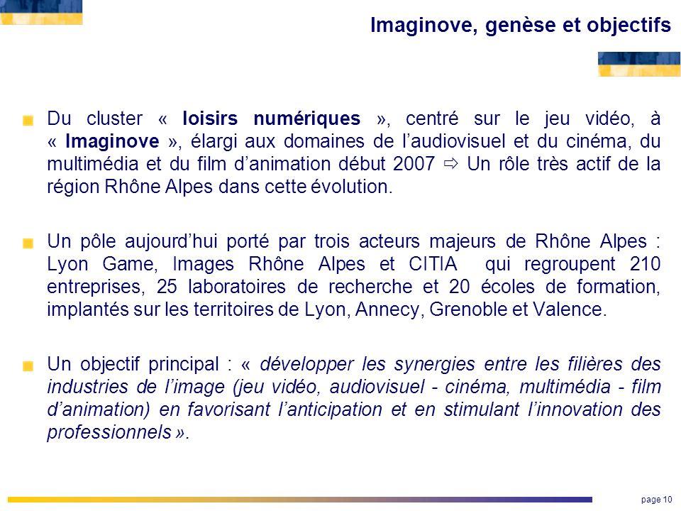 page 10 Imaginove, genèse et objectifs Du cluster « loisirs numériques », centré sur le jeu vidéo, à « Imaginove », élargi aux domaines de laudiovisue
