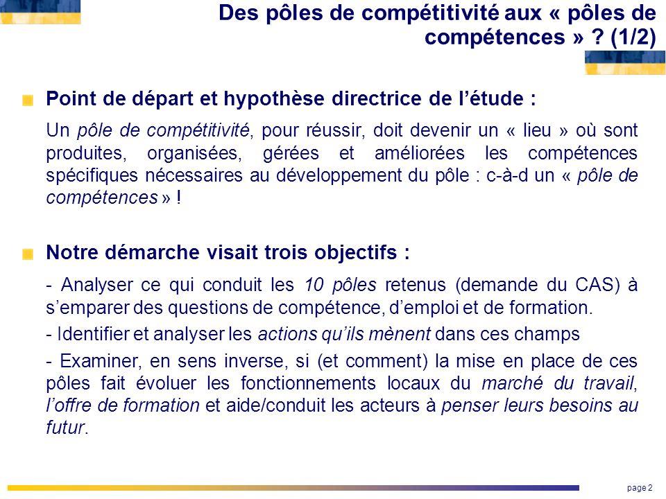 page 2 Des pôles de compétitivité aux « pôles de compétences » ? (1/2) Point de départ et hypothèse directrice de létude : Un pôle de compétitivité, p