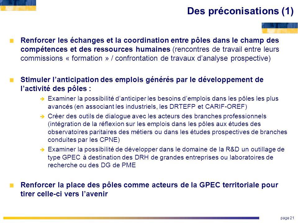 page 21 Des préconisations (1) Renforcer les échanges et la coordination entre pôles dans le champ des compétences et des ressources humaines (rencont