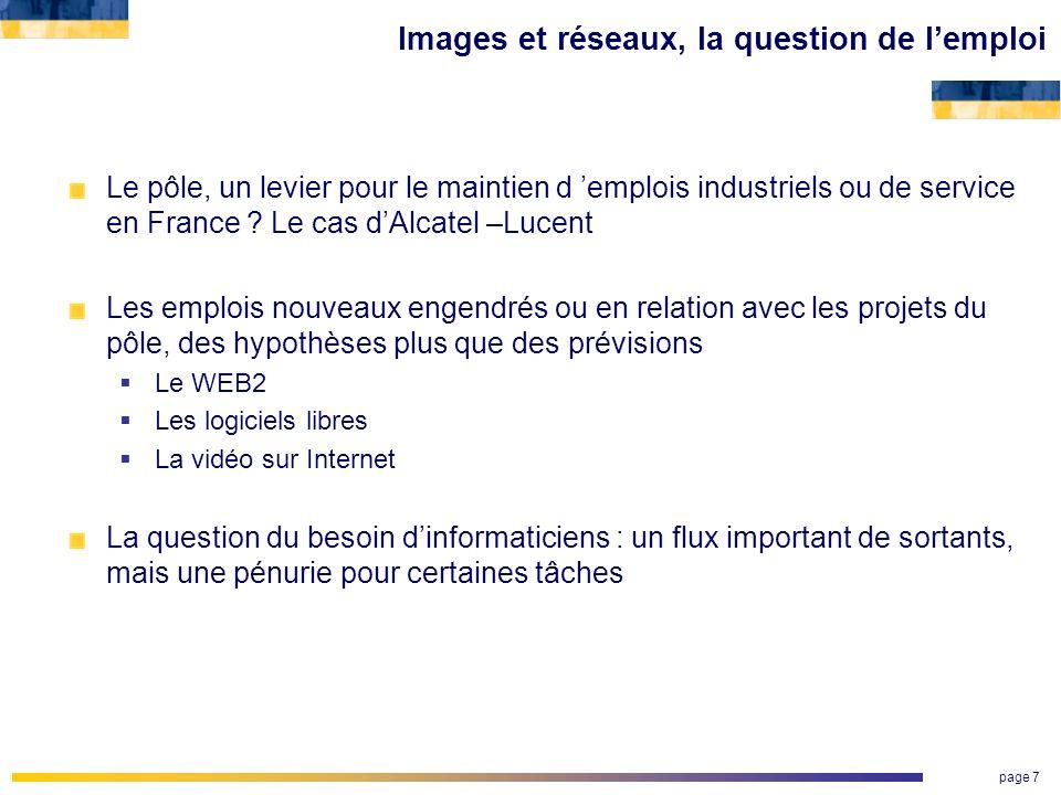 page 7 Images et réseaux, la question de lemploi Le pôle, un levier pour le maintien d emplois industriels ou de service en France ? Le cas dAlcatel –