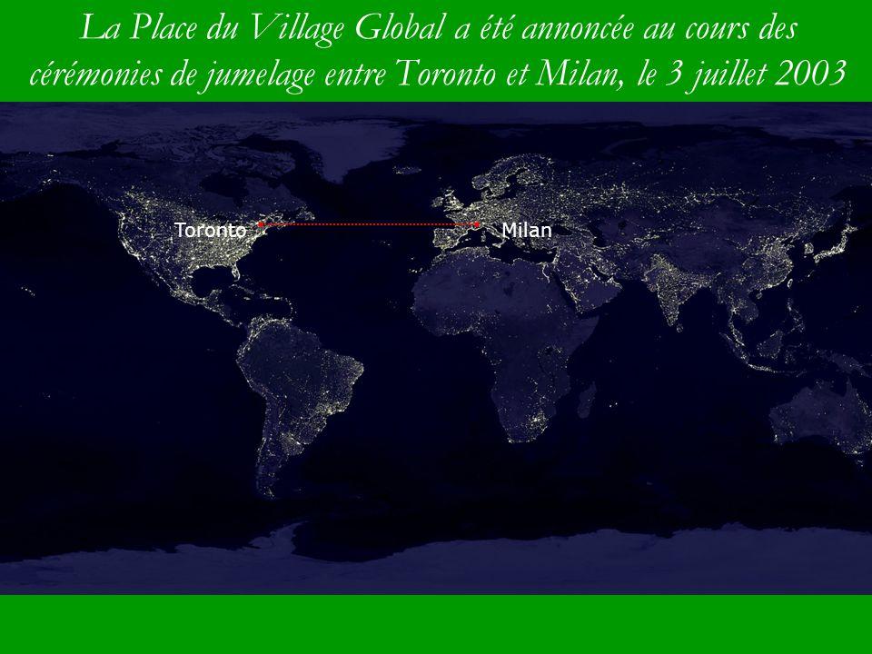 La Place du Village Global a été annoncée au cours des cérémonies de jumelage entre Toronto et Milan, le 3 juillet 2003 TorontoMilan TorontoMilan