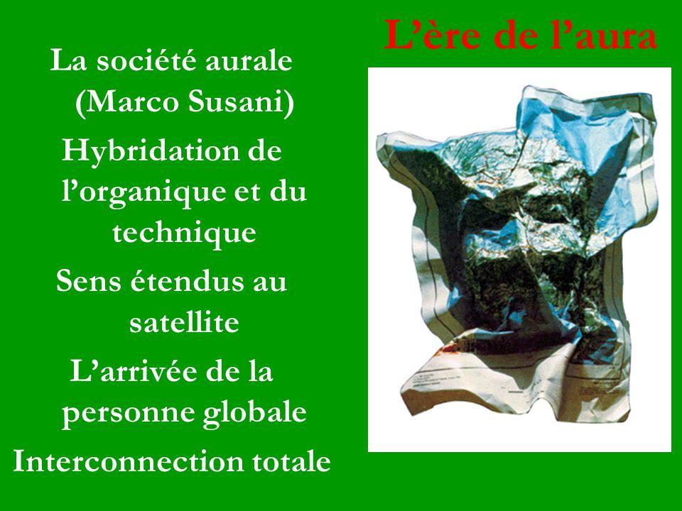 La société aurale (Marco Susani) Hybridation de lorganique et du technique Sens étendus au satellite Larrivée de la personne globale Interconnection t