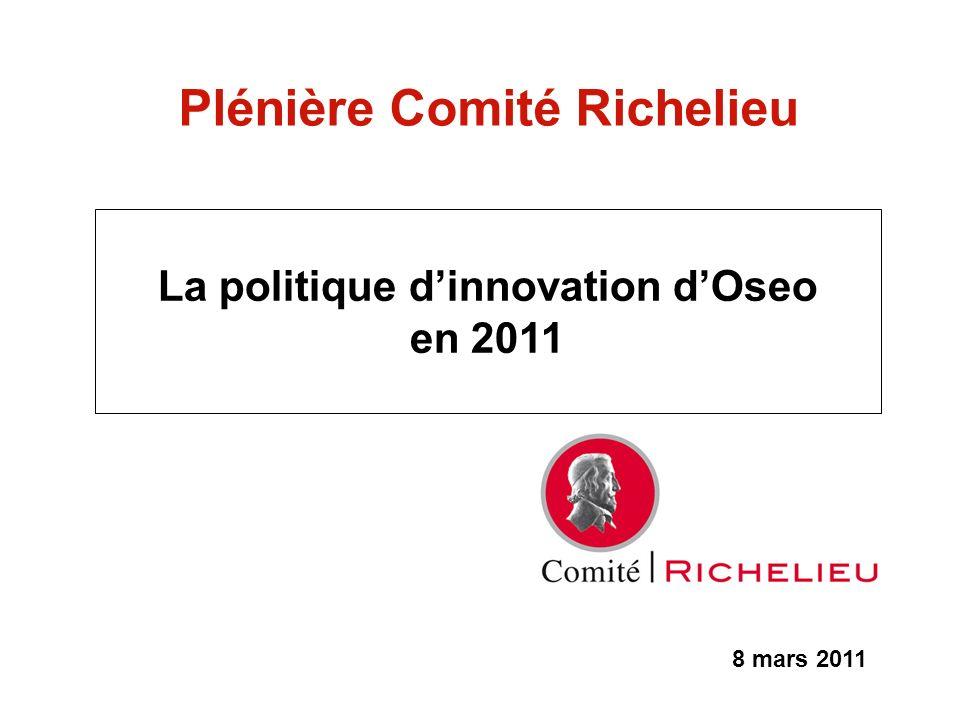 8 mars 2011 Plénière Comité Richelieu La politique dinnovation dOseo en 2011