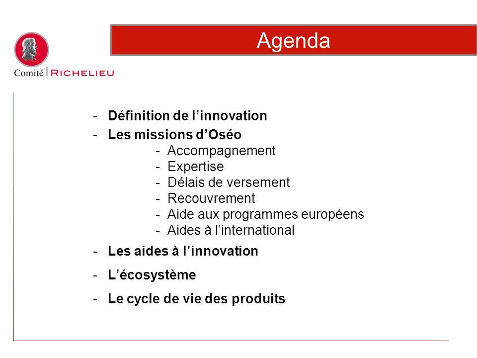 Agenda -Définition de linnovation -Les missions dOséo -Accompagnement -Expertise -Délais de versement -Recouvrement -Aide aux programmes européens -Ai