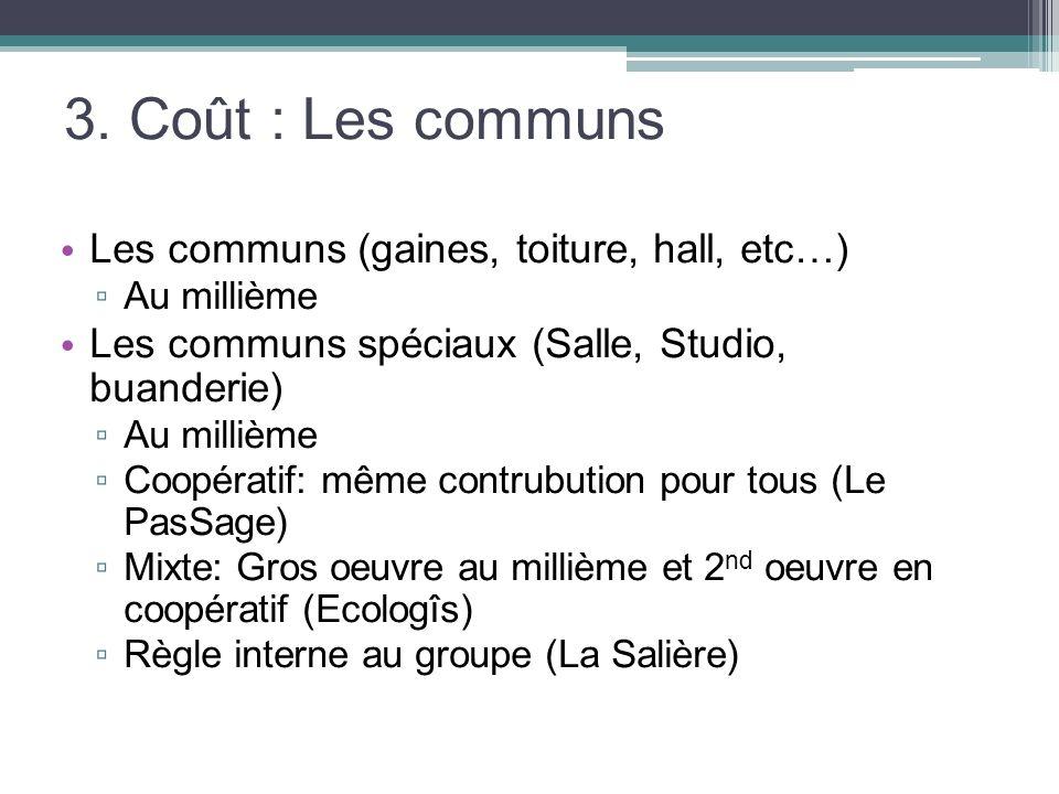 3. Coût : Les communs Les communs (gaines, toiture, hall, etc…) Au millième Les communs spéciaux (Salle, Studio, buanderie) Au millième Coopératif: mê
