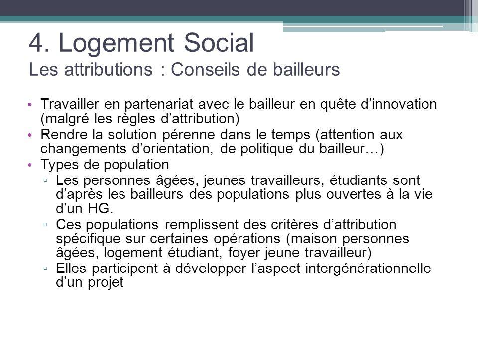 4. Logement Social Les attributions : Conseils de bailleurs Travailler en partenariat avec le bailleur en quête dinnovation (malgré les règles dattrib