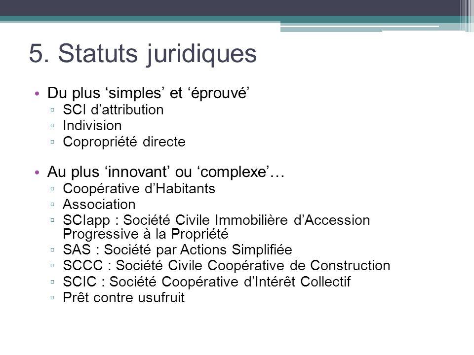 5. Statuts juridiques Du plus simples et éprouvé SCI dattribution Indivision Copropriété directe Au plus innovant ou complexe… Coopérative dHabitants