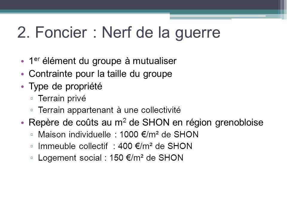 2. Foncier : Nerf de la guerre 1 er élément du groupe à mutualiser Contrainte pour la taille du groupe Type de propriété Terrain privé Terrain apparte