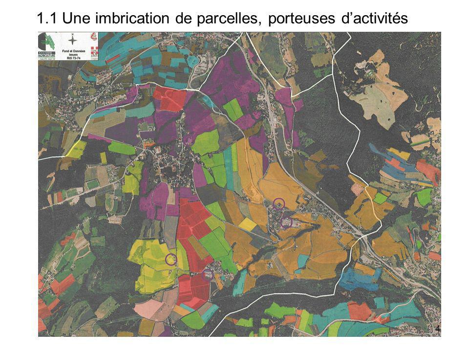 Un territoire agricole composé de parcelles cultivées ….