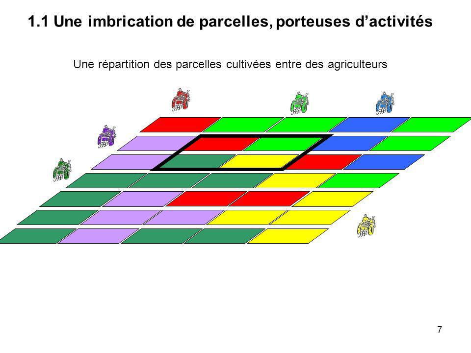 Une répartition des parcelles cultivées entre des agriculteurs 1.1 Une imbrication de parcelles, porteuses dactivités 8