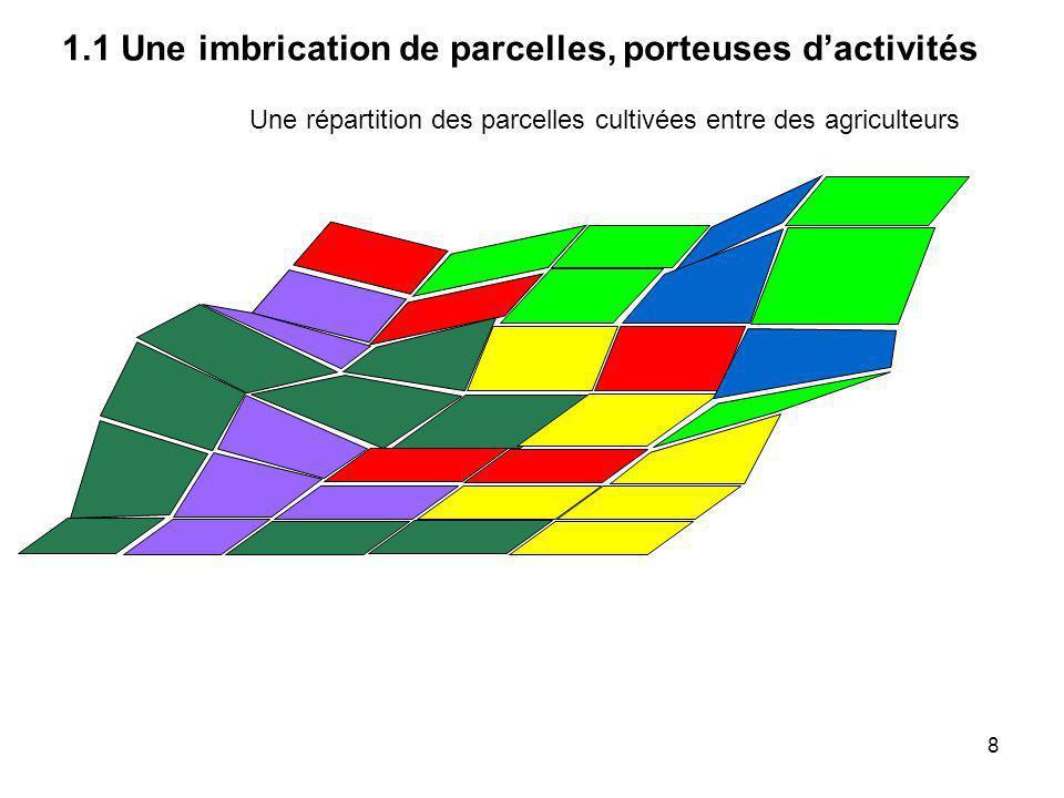 Une parcelle cultivée ou un « îlot de cultures » ne correspond pas (en général) à une parcelle cadastrale 2 - La place du foncier dans lespace agricole 39
