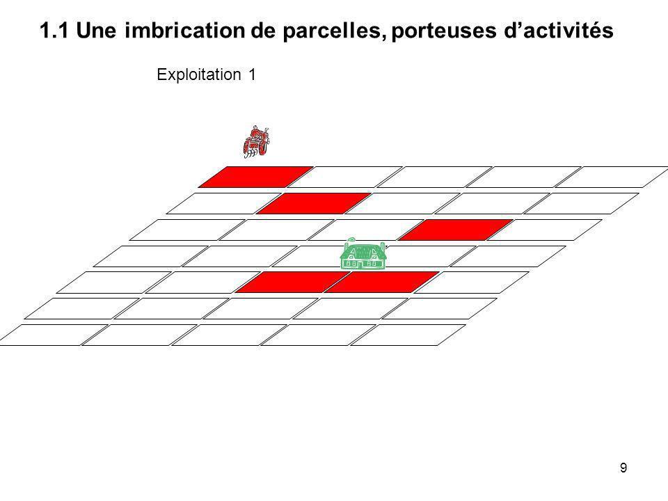 Exploitation 1 : Une exploitation de polyculture-élevage 1.1 Une imbrication de parcelles, porteuses dactivités 10