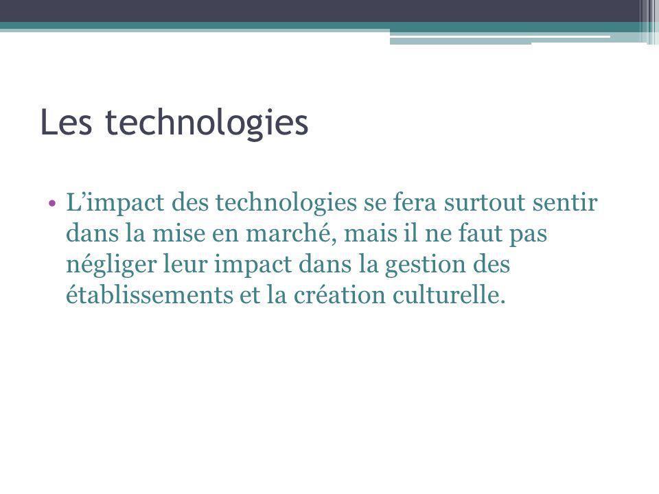 Les technologies Limpact des technologies se fera surtout sentir dans la mise en marché, mais il ne faut pas négliger leur impact dans la gestion des