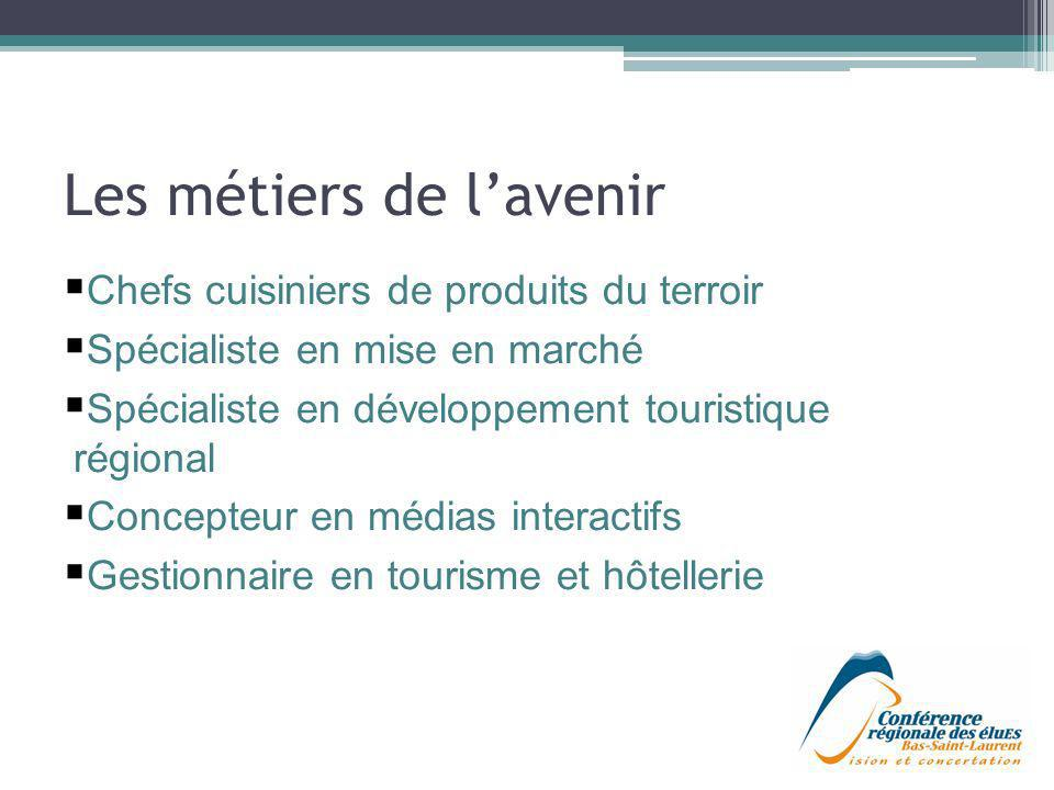 Les métiers de lavenir Chefs cuisiniers de produits du terroir Spécialiste en mise en marché Spécialiste en développement touristique régional Concept