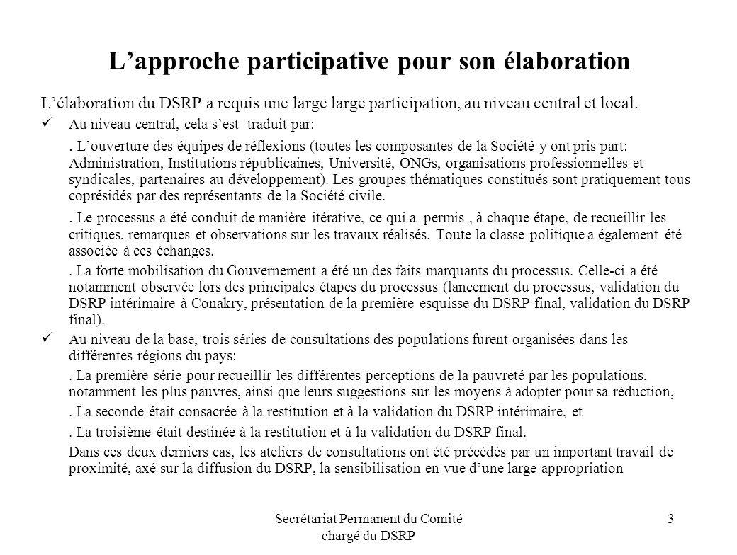 Secrétariat Permanent du Comité chargé du DSRP 3 Lapproche participative pour son élaboration Lélaboration du DSRP a requis une large large participat