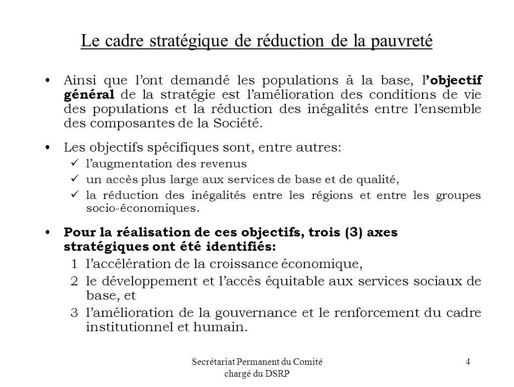 Secrétariat Permanent du Comité chargé du DSRP 4 Le cadre stratégique de réduction de la pauvreté Ainsi que lont demandé les populations à la base, l