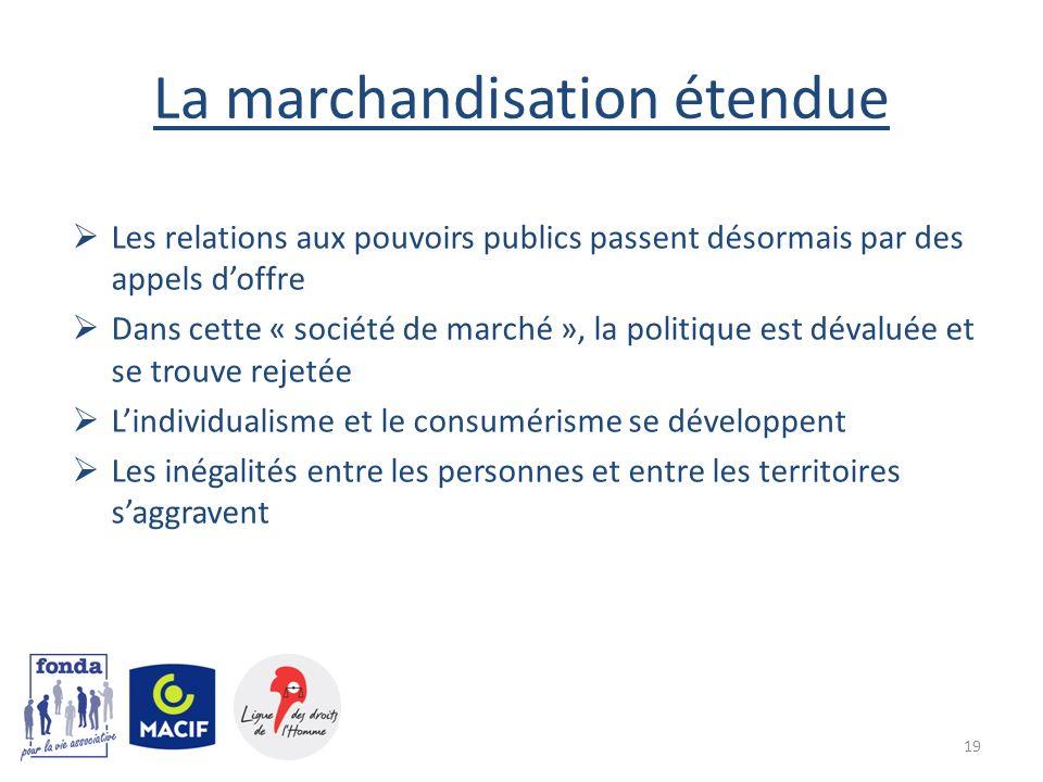 La marchandisation étendue Les relations aux pouvoirs publics passent désormais par des appels doffre Dans cette « société de marché », la politique e