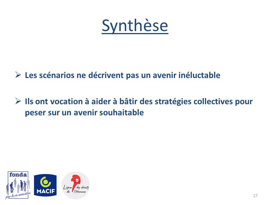 Synthèse Les scénarios ne décrivent pas un avenir inéluctable Ils ont vocation à aider à bâtir des stratégies collectives pour peser sur un avenir sou