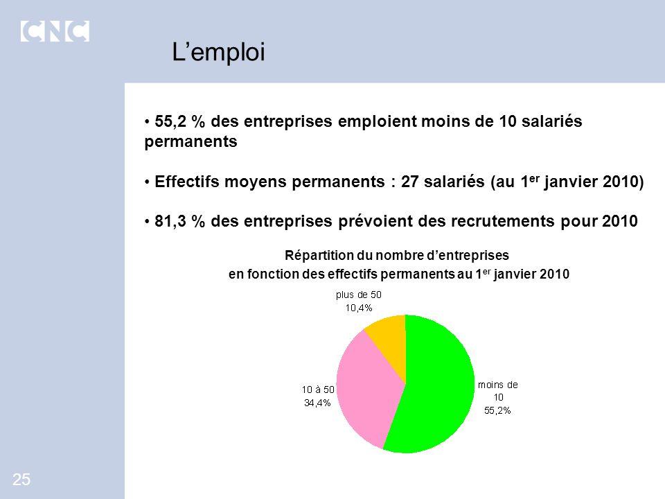 55,2 % des entreprises emploient moins de 10 salariés permanents Effectifs moyens permanents : 27 salariés (au 1 er janvier 2010) 81,3 % des entrepris