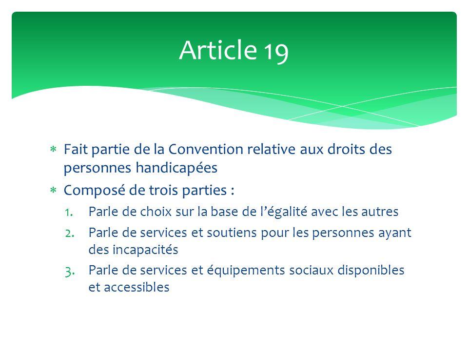 Fait partie de la Convention relative aux droits des personnes handicapées Composé de trois parties : 1.Parle de choix sur la base de légalité avec le