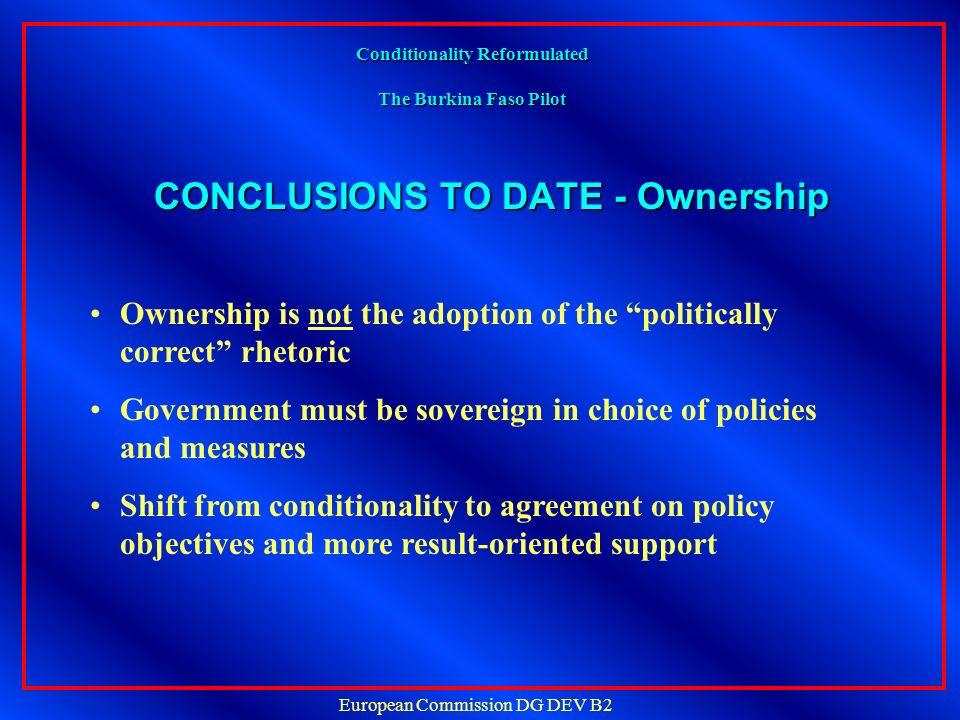 European Commission DG DEV B2 Conditionality Reformulated The Burkina Faso Pilot