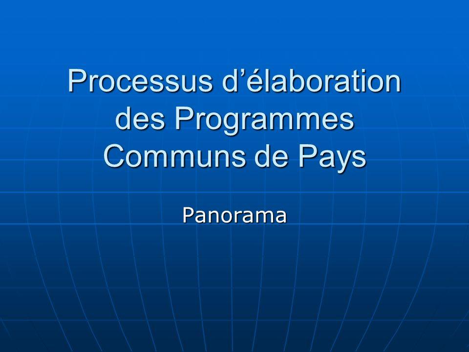 Processus délaboration des Programmes Communs de Pays Panorama