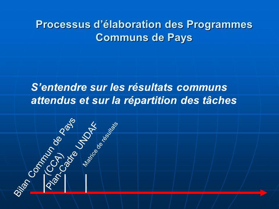 Réunion de Stratégie Commune (JSM) CCA UNDAF Matrice de résulats Sentendre avec le gouvernement sur les principales stratégies du programme Processus délaboration des Programmes Communs de Pays