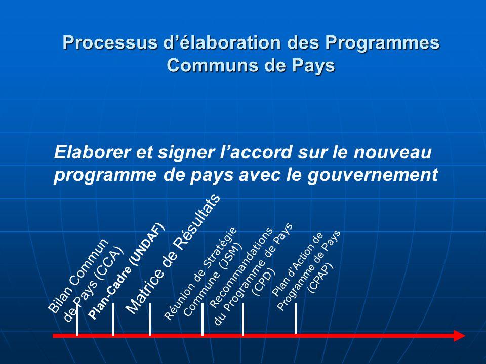 Plans de Travail Annuels (AWPs) Bilan Commun de Pays (CCA) Plan-Cadre (UNDAF) Matrice de Résultats Réunion de Stratégie Commune (JSM) Recommandations du Programme de Pays (CPD Plan dAction de Programme de Pays (CPAP) Soutenir lexécution par le biais des Plans de Travail Annuels avec les partenaires dexécution Processus délaboration des Programmes Communs de Pays