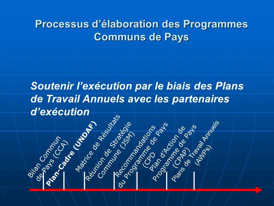 Examen annuel Plans de Travail Annuels (AWPs) Bilan Commun de Pays (CCA) Plans de Travail Annuels (AWPs) Plan-Cadre (UNDAF) Matrice de résulats Réunion de Stratégie Commune (JSM) Recommandations du Programme de Pays (CPD Plan dAction de Programme de Pays (CPAP) Examens, réajustements et plans pour lannée suivante Processus délaboration des Programmes Communs de Pays