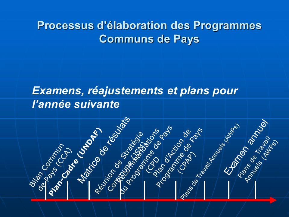 Bilan Commun de Pays (CCA) Plans de Travail Annuels (AWPs) Plan-Cadre (UNDAF) Matrice de résultats Réunion de Stratégie Commune (JSM) Recommandations du Programme de Pays (CPD) Plan dAction de Programme de Pays (CPAP) Examen annuel Plans de Travail Annuels (AWPs) Processus de Programme Commun de Pays