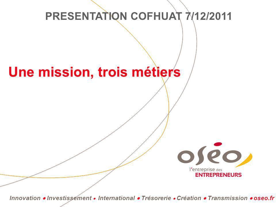 Innovation Investissement International Trésorerie Création Transmission oseo.fr Une mission, trois métiers PRESENTATION COFHUAT 7/12/2011