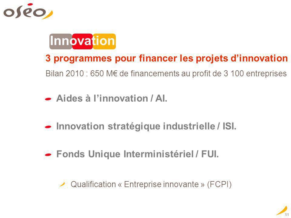 11 Innovation 3 programmes pour financer les projets dinnovation Aides à linnovation / AI. Innovation stratégique industrielle / ISI. Fonds Unique Int