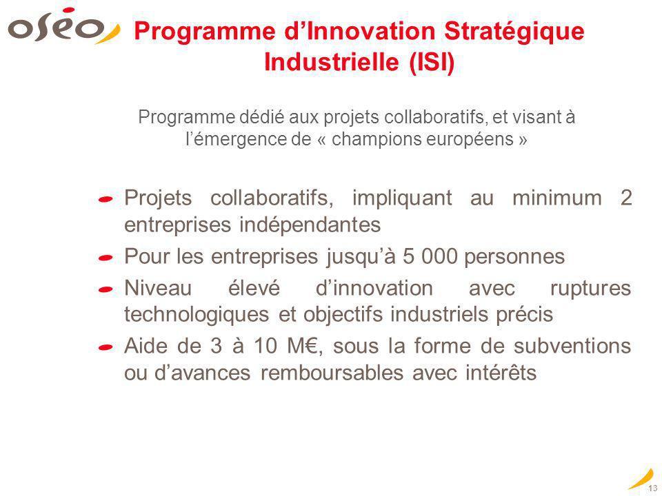 13 Programme dInnovation Stratégique Industrielle (ISI) Projets collaboratifs, impliquant au minimum 2 entreprises indépendantes Pour les entreprises
